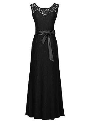 Miusol® Women's Elegant Sleeveless Halter Black Lace Bridesmaid Maxi Dress