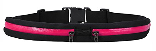 Running and Fitness Expandable Belt for iPhone 6 Plus Android [ Dual Pouches ] Waist Pack Travel (Pink)