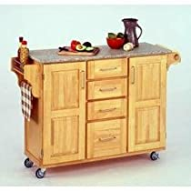 "Hot Sale Kitchen Cart with Granite Top (Natural) (36""H x 52.5""W x 18""D)"