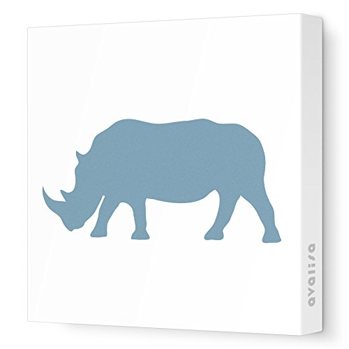 "Avalisa Stretched Canvas Rhino Nursery Wall Art, Blue/Grey, 12"" x 12"""
