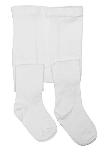 BEAR MUM Baby Girls' Seamless Organic Cotton Tights White 2-3Year