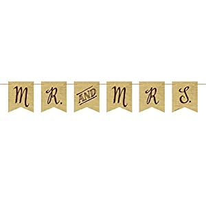 Rustic Wedding Mr and Mrs Burlap Pennant Banner from Creative Converting