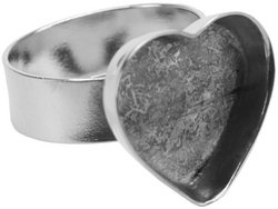 Amate Studios Base Elements Adjustable Heart Ring Base, 1/Pkg, Silver Overlay, 16-1/2-Millimeters-by-14-Millimeters