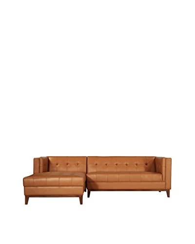 Kardiel Harrison Modern Sofa Chaise Sectional-Left Face, Brown