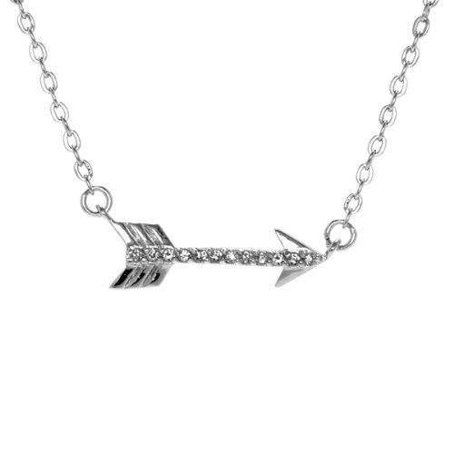 Katniss' Hunger Games Inspired Sideways CZ Arrow Charm Necklace