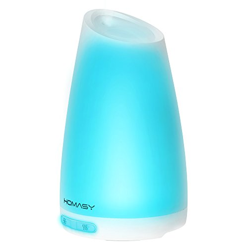 Homasy 100ml Essential Oil Diffuser Humidifier, Aromatherapy Diffuser with 7 Color Lights,4-6 Hours Working Duration for Home, Office, Bedroom, Yoga Room