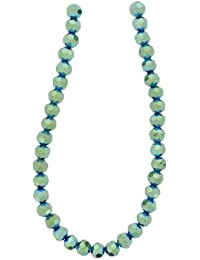 Tennessee Crafts 2704 Glass Green Iris Glass Beads Faceted Round Green Iris 6mm Beads, 39-Piece