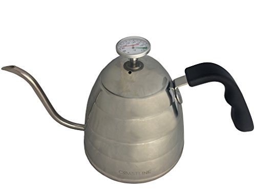 CoastLine Pour Over Coffee Gooseneck Kettle | Built In Easy To Read Thermometer | 900ML Capacity | Stainless Steel Tea Kettle | Perfect for Pour Over Coffee and Tea (Kettle Q compare prices)
