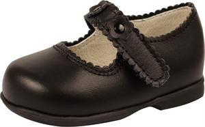 Baby Deer Walking Shoe Style 6302 Black Leather Scalloped One-strap with Flower Overlays