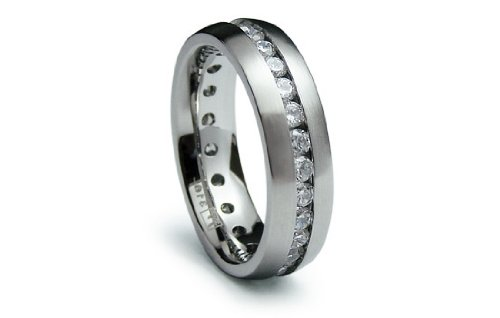 Stainless Steel Ring Satin High Polish with CZ Eternity Band