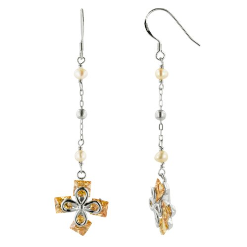 Sterling Silver Peach Freshwater Cultured Pearl Champagne Cubic Zirconia Floral Design Dangle Earrings