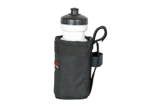 Bushwhacker Shasta Black - Insulated Bike Water Bottle Holder w/ 22 oz. Bottle - Two Point Bike Frame & Handlebar Attachment w/ Belt Loop