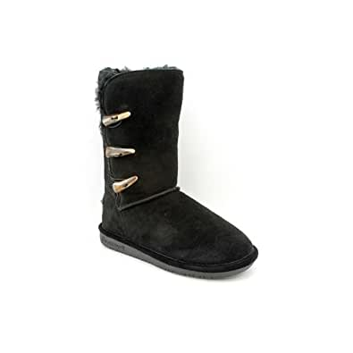 Bearpaw Womens Jade 10-Inch Suede Sheepskin Toggle Closure Boot, Black, US 9