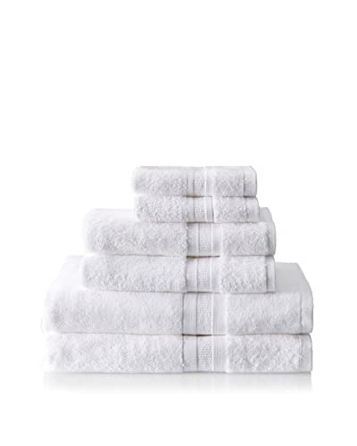 Home Source MicroCotton Aertex 6-Piece Towel Set, White
