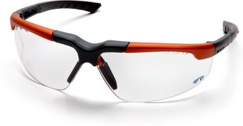 Pyramex Reatta Safety Glasses - Clear Lens, Orange-Charcoal Frame Soc4810D, 12