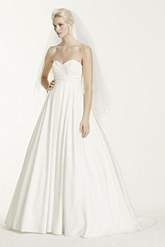 Faille Pleated Strapless Wedding Dress with Empire Waist Style WG3707, Soft...