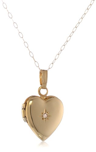 Duragold 14K Yellow Gold Child's Heart Locket with Diamond Pendant Necklace, 13″