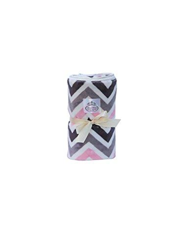 LUXE BABY Chevron Baby Blanket, Grey/Pink