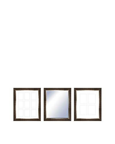 PTM Images Lincoln Gallery 3-Piece Wood Mirror & Photo Collage Set, Dark Walnut
