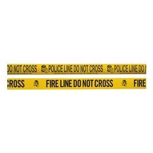 Barricade Tape w/Reel, Yellow/Blk, 1000 ft