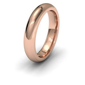 9ct Rose Gold, 4mm Wide, Court Shape Heavy Weight Wedding Ring