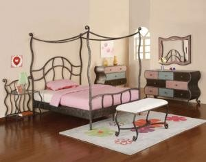 4 PC Parisian Canopy Bedroom Furniture Set by Powell Company