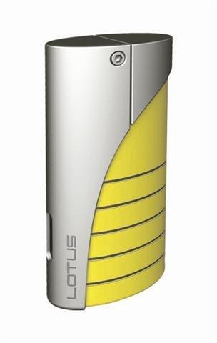 Lotus 18 Designer Torch Lighter Yellow Glass/Chrome Velour