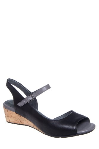 Bussola Tampere 1464 Low Wedge D'Orsay Ankle Strap Sandal