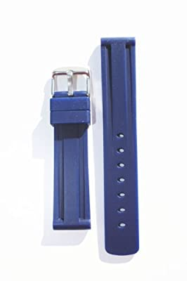 Panerai Style 24mm Navy Blue Heavy Rubber 24mm with Heavy S/S Buckle By Toscana
