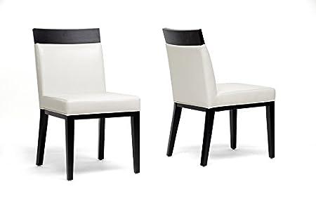 Clymene Black Wood and Cream Leather Modern Dining Chair with Chanasya Polish Cloth Bundle (Set of Two)