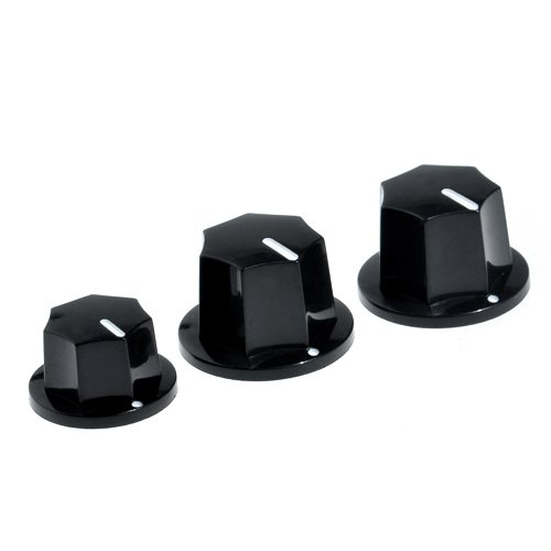 3Pcs Control Speed Knobs Black For Fender Replacements Jazz Bass Guitar