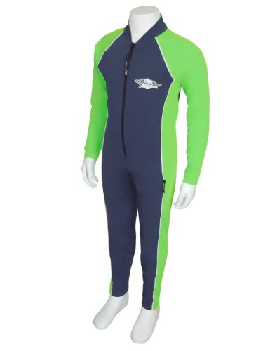 UV Sun Protection Full Body Coverage Swimsuit for Boys & Girls-SPF Protective 1-piece suit – Long sleeve, Long leg Swimwear -Sizes 2, 4, 6, 8. (Navy/Lime, 2) image