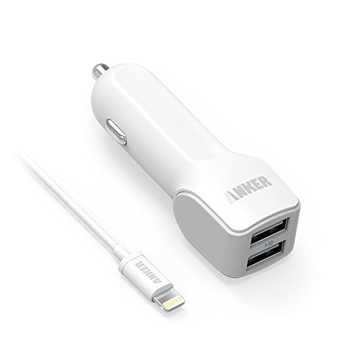 Anker® 24W Dual-Port Usb Car Charger With Poweriq™ Technology And Apple Mfi Certified 3Ft / 0.9M Lightning™ To Usb Cable For Iphone 6 Plus 5S 5C 5; Ipad Air Mini Mini2; Ipod Nano And More (White)