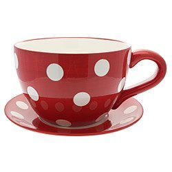 Lifestyle Products, Polka Dot Red Tea Cup & Saucer Planter, 16.5 x 33.5 x 25.5 cm