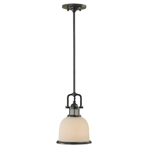 Murray Feiss P1144DBZ Parker Place Collection 1-Light Mini-Pendant Dark Bronze Finish with White Opal EtchedB001D4LVT6