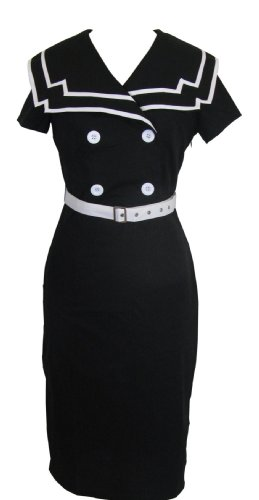 Skelapparel 60's Vintage Style Black and White Pinup Sailor Pencil Skirt Dress (6) Image