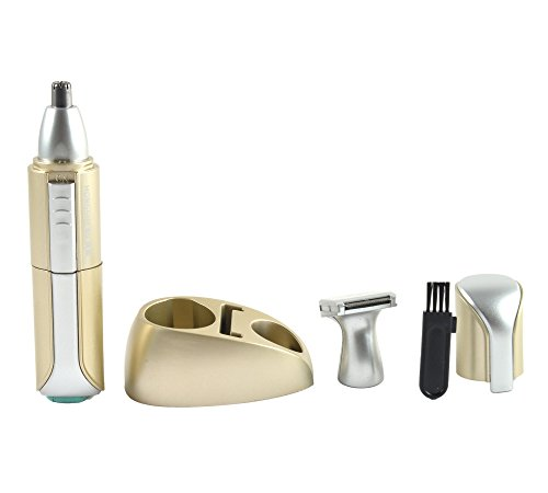 Electric Nose & Ear Hair Trimmer, Temples Hair Trimmer with LED Light - 2-in-1 Salon Grade Micro-Groomer for Men/Women as Gifts(Golden)