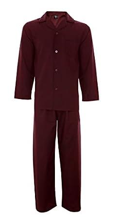 (B162) Mens Cargo Bay Plain Woven Polycotton Pyjama Set Nightwear, Long Sleeve Button Up Top & Trouser, in Navy, Burgandy or Sky Blue (Small, Burgandy)