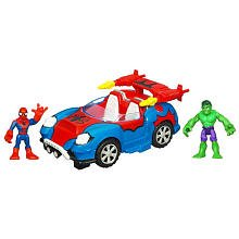 Playskool Super Hero Squad Deluxe Vehicle – Crime Cruising Car with Spiderman & Hulk
