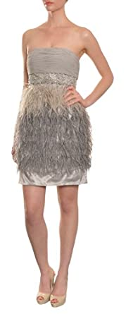 Sue Wong Women's Festive Rhinestone Feather Party Cocktail Evening Dress 12 Silver
