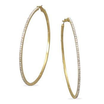 Gold Tone Crystal Fashion Hoop Earrings