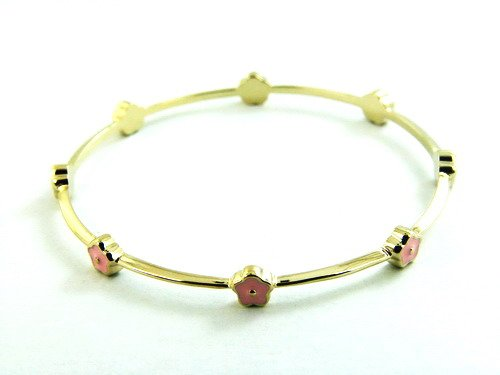 14ct Gold plated Slip on Bangle with pink enamel flowers, to fit ages 1 to 3 (40mm)