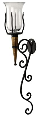 Iron Wood Wall Candle Holder Sconce With Glass Holder