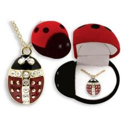 Ladybug Crystal Pendant Necklace In Gift Box