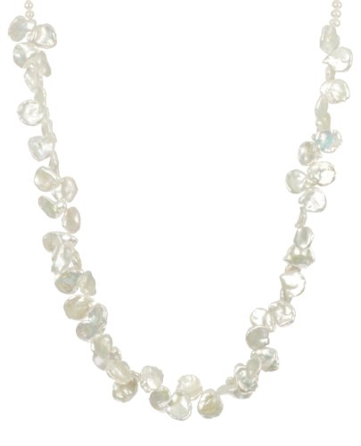 Single Strand White Keshi Fresh Water Pearl with Sterling Silver Lobster Claw Clasp Necklace, 18