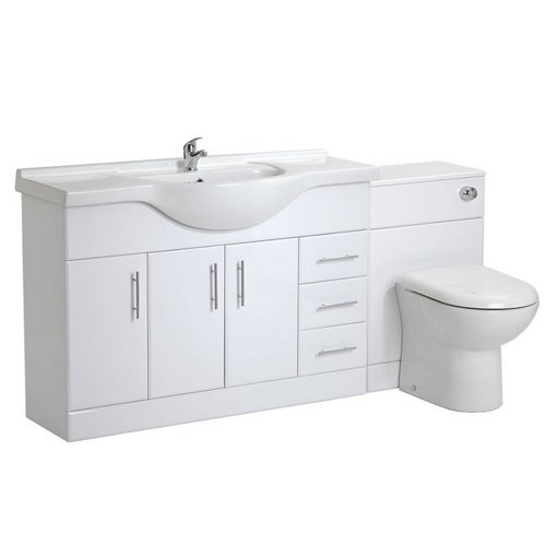 VeeBath Linx 1800 White Bathroom Set 1200 Vanity with WC Unit, D Pan, Cistern