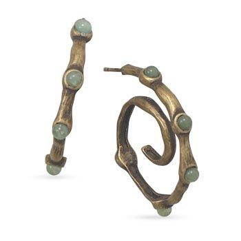 Oxidized 14 Karat Gold Plated Aventurine Earrings