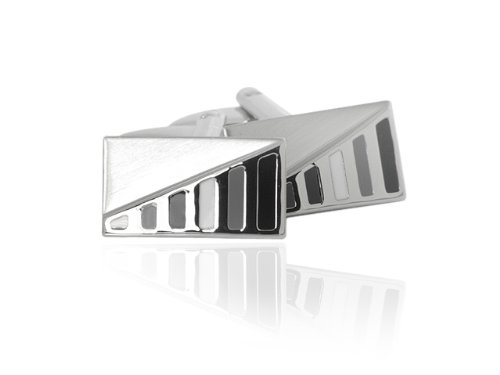 Silver Tone Coloured Enamel Contemporary Cufflinks