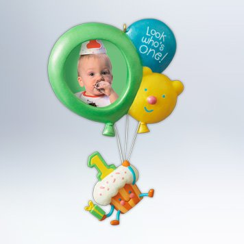 Hallmark Keepsake Photo Ornament Baby's 1st Birthday Ornament - 1