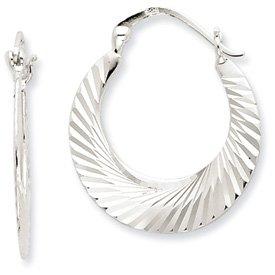 Genuine IceCarats Designer Jewelry Gift Sterling Silver Diamond Cut Hoop Earrings